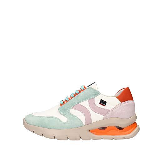 CALLAGHAN - Zapato Deportivo Casual, Sneakers con Cordones, Zapatillas cuña y Plataforma. Fabricado en Piel, para: Mujer Color: Aqua Talla:36