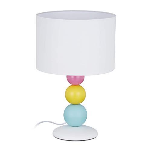 Relaxdays Tischlampe, Nachttischlampe mit buntem Kugelfuß, E14-Fassung, runder Stoffschirm, HxD: 40,5 x 26 cm, weiß