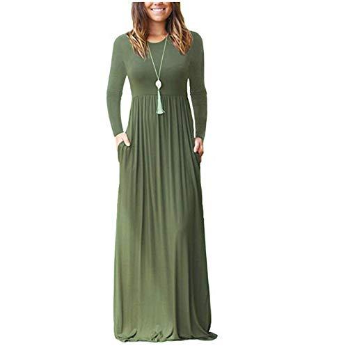 ZNYSTAR Mujer Casual Playa Estidos Largos Maxi Vestido con Bolsillo (Large, Army Green,Manga Larga)