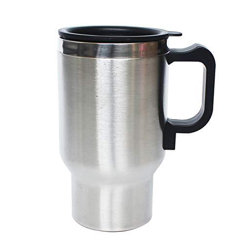Taza De Calefacción De Coche, Calentador De Taza De Agua De Café Termostato De Botella De Taza Térmica De Calefacción De Coche De 12V 500ml Plata