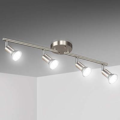 Unicozin 4 Light LED Track Lighting Kit, Matt Nickel 4 Way Ceiling Spot Lighting, Included 4 x GU10 LED Bulbs (4W, Daylight White 5000K, 400LM, Non-Dimmable), Rotatable Light Head Track Light