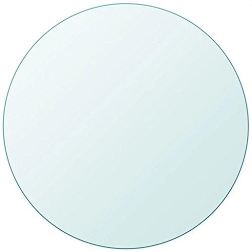 yorten Ersatzteil Rund Tischplatte Glasplatte aus Gehärtetem Glas Durchmesser 800 mm Dicke 10 mm Transparent