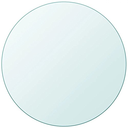 Fesjoy Tablero de Mesa de Cristal Templado Redondo 900 mm 10 mm