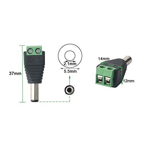 FULARR/® 24Pcs Profesional DC Conector Enchufe para CCTV C/ámara LED Strip 12 Pares 2 Pin Enchufe Macho /& Socket Hembra Set Barril 12V DC Power Jack Conector Adaptador 5.5 X 2.1mm