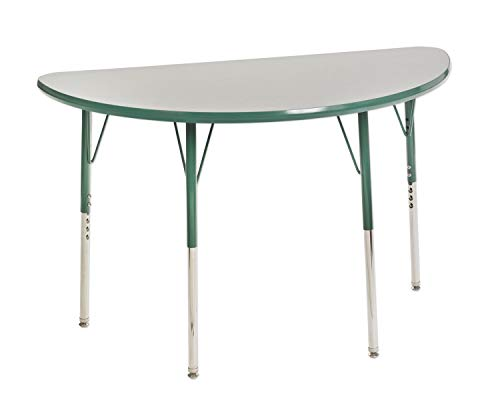 ECR4Kids elr-14825-ggn-ss mesa t-mould 24'x 48' semicircular actividad escolar se desliza, giratorio de patas de mesa, estándar w/ajustable altura 19'-30'