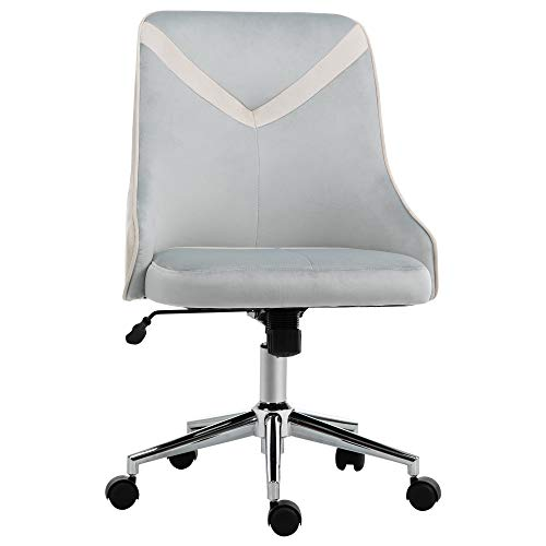 Vinsetto Office Chair Velvet-Feel Fabric Computer Home Leisure Chair Bedroom Armless Rocking with Wheels, Beige Grey