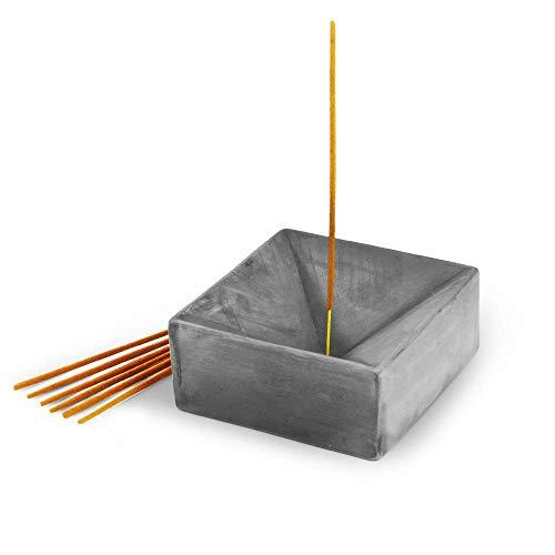 Slice of Goodness Grey Cement Incense Holder Large Cube - Modern Minimal Design with Upright Burner...