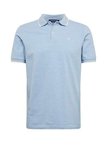 Scotch & Soda Herren Meliert Baumwoll-Piqué Poloshirt, Blau (Blue Melange 0886), XX-Large (Herstellergröße:XXL)