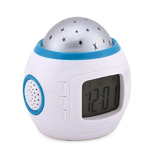 Habitación Sky Star Night Light Proyector Lámpara Reloj de alarma Sleeping Chord Music Star Night Light Reloj de alarma (Color : White)