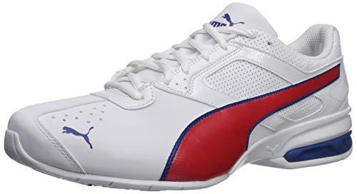 PUMA Men's Tazon 6 FM Sneaker, White-Galaxy Blue-high Risk Red, 11 M US