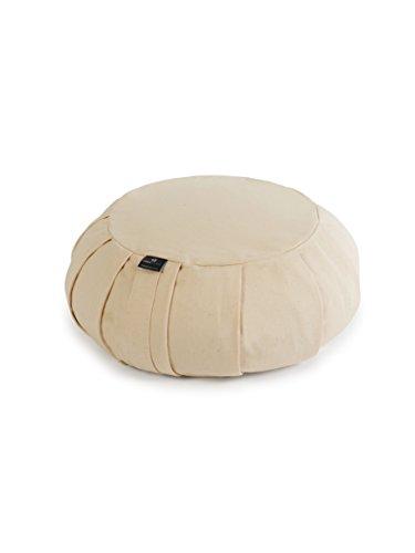 Yoga Studio YS/EU Round/Cushion Europäisches Zafu, rund, 35 x 18 cm, Buchweizen-Kissen mit Baumwollbezug, integrierter Tragegriff. Yoga-Zubehör, Ecru, Natur, Regular