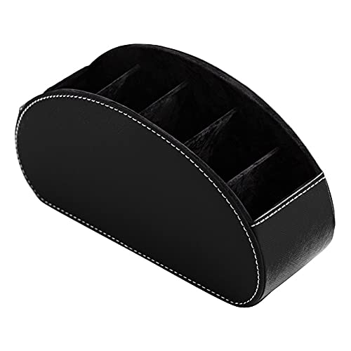 Nicejoy Titular de Control Remoto Escritorio Tidy Storage Caddy Caja con 5 Compartimentos Organizador de Cuero para Smartphones Gafas para el hogar