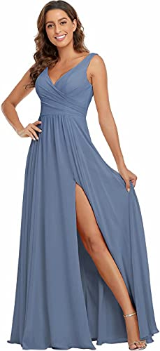 Rjer Dusty Blue Bridesmaid Dresses Chiffon Long 2021 V Neck Slit Empire Waist Formal Evening Gowns for Women Size 4