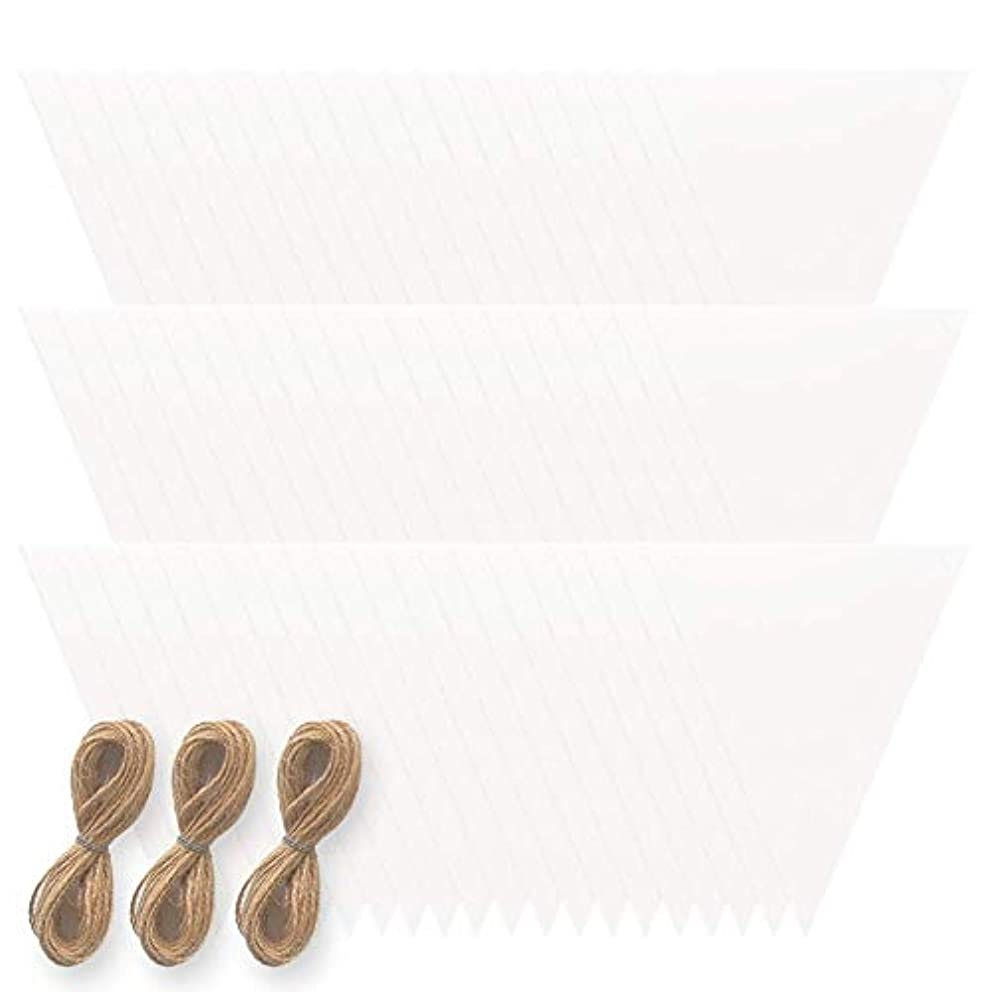 Monolike Blank Triangle Garland - 3 Pack : Paper Garland 60 Sheets and Rope, Party and Decoration