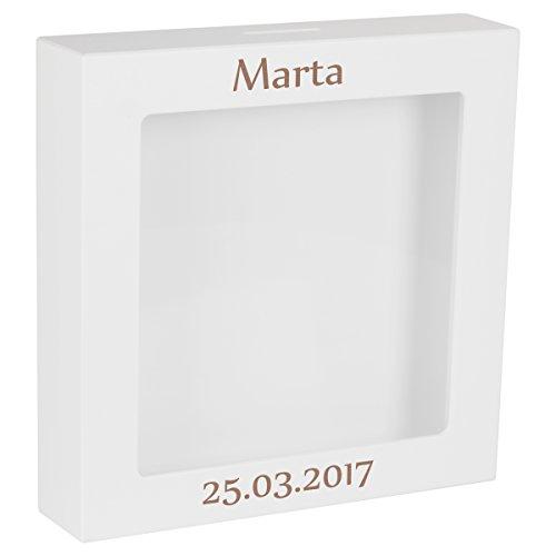3D-Rahmen zur Taufe/Geburt mit Gravur - 25,0 x 25,0 x 5,0 cm mit Schutzengel – weißer Bilderrahmen mit Name + Datum – Taufgeschenk oder Geschenk zur Geburt mit Glücksbringer