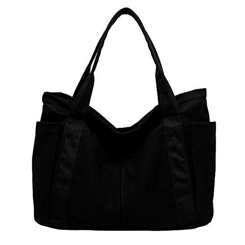 pielu トートバッグ マザーズバッグ レディース キャンバス ファスナー ポケット付き L (L, ブラック)