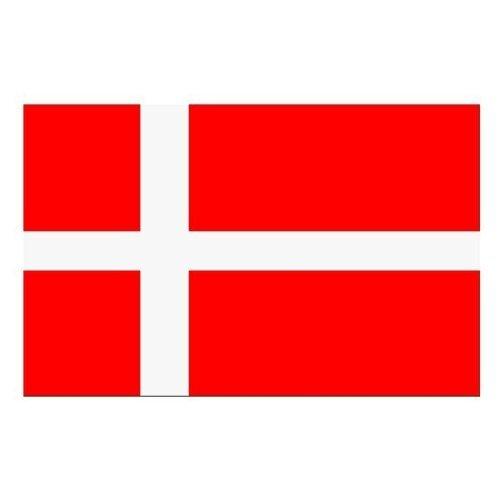 Fahne Flagge Hissfahne mit 2 Metallösen zur Befestigung und zum Hissen - Größe 90 x 150 cm Nationalfahne WM EM Garten Deko Gastronomie Weltmeisterschaft Europameisterschaft national (Dänemark)