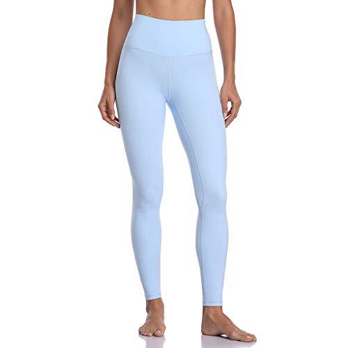 QHJ Damen Leggings Yoga Sport Pants Fitnesshose Yoga Leggings Frauen Einfarbig Sport Fitness Hüfte Yoga Hosen Jogginghose (Hellblau,S)