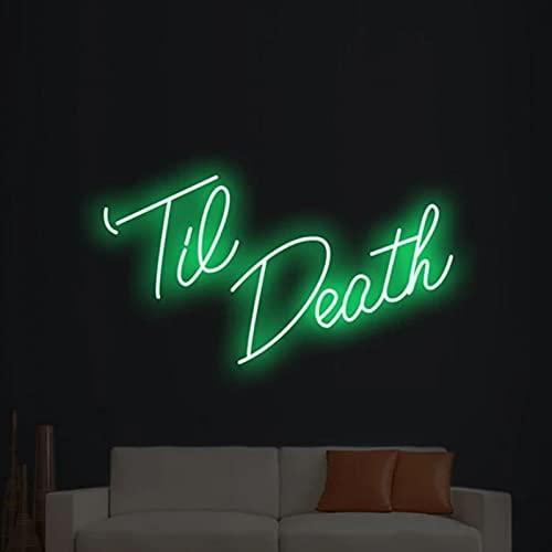 Gn shop Señal Personalizada Led hasta Que la Muerte de luz de neón para la decoración Dormitorio Principal Partido de Matrimonio decoración de la Pared de la decoración con el Amortiguador