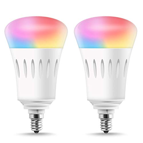 LED Smart Candelabra Base E12 Bulbs, LOHAS A19 Bulb Dimmable Wi-Fi LED Lights, 60W LED 810LM APP Controlled RGB Color Changing, No Hub Required Smart Light Bulb Works with Alexa Google Home, 2 Pack