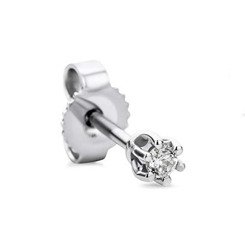 Orovi Damen Single Ohrring mit Diamant Weißgold Solitär Ohrstecker 9 Karat (375) Gold und Diamant Brillanten 0.03 Ct Ohrring Handgemacht in Italien