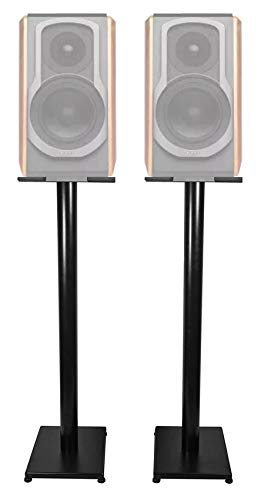 "Check Out This Black 37"" Steel Bookshelf Speaker Stands for Edifier S1000DB Bookshelf Speakers"