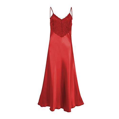 Damen Dessous Nachtwäsche Spitze Satin Chemise Nachtkleid Seide Nachthemd Sexy Nachtwäsche Übergröße EU 38-56 Gr. 52-54, rot