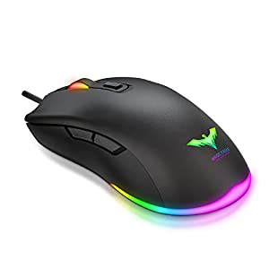 havit Ratón Gaming RGB 6 Botones Mouse Gaming programables Iluminación RGB [800-1600-2400-4800] para Windows7/8/10/Xp/Vista/Linux(MS732)