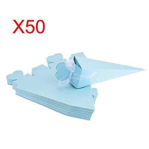 FLOWOW 50 Pz Blu Forma di Gelato Cono Coni portariso Scatola portaconfetti scatolina bomboniere segnaposto con Nastrino per Matrimonio Nozze Compleanno Battesimo Comunione Nascita Laurea Festa Natale