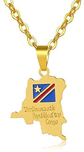Liuqingzhou Co.,ltd Collar con Colgante de Cobre con Mapa de la República Democrática del Congo para Hombres/Mujeres joyería con Mapa