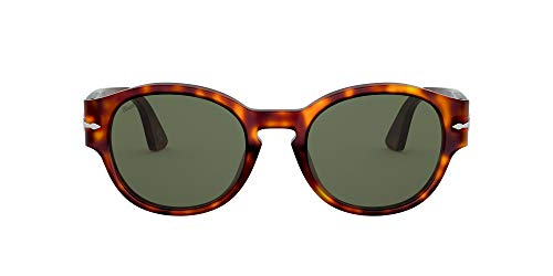 Persol PO3230S Rectangular Sunglasses, Havana/Green, 52 mm