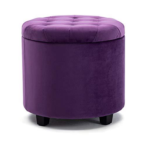 HNNHOME Pouf Coffre de Rangement Repose-pieds, pouf velours rond, Banc avec Espace de Rangement, Siège, 45 L, 45 x 45 x 43 cm (violet, velours)
