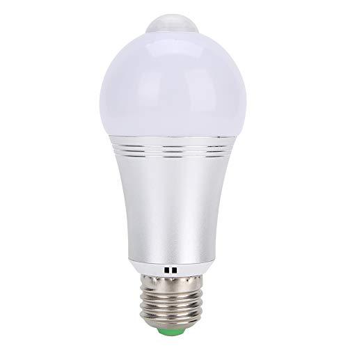 Cuque Luz de Sensor de Movimiento, luz de inducción de Cuerpo de Infrarrojos PIR E27 7W, Bombilla de Sensor de Material de Aluminio para Escalera(Warm White)