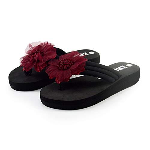 Writtian Damen Zehentrenner Blumen Pantoletten Wedges Sandalen Bohemien Stil Flip Flops Mädchen Einfarbig Hausschuhe Strandschuhe