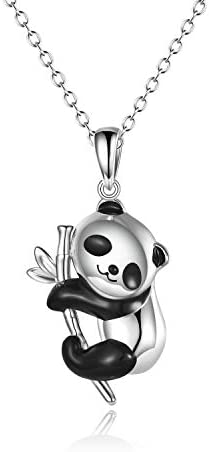 ONEFINITY Panda Gifts Sterling Silver Panda Necklaces Lovely Panda Bamboo Pendant for Women product image