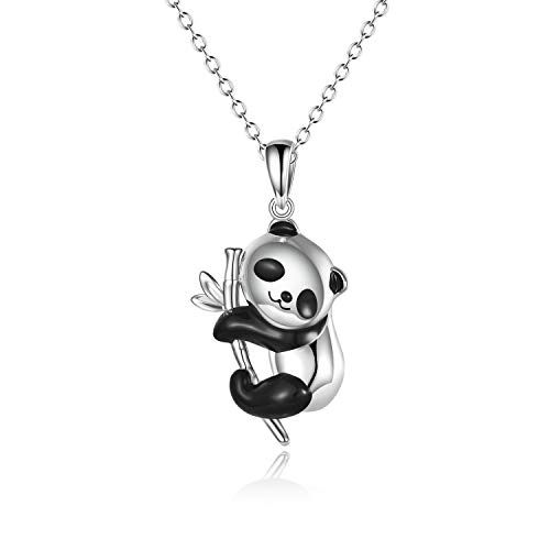 ONEFINITY Panda Gifts Sterling Silver Panda Necklaces Lovely Panda Bamboo Pendant for Women Jewelry Gifts