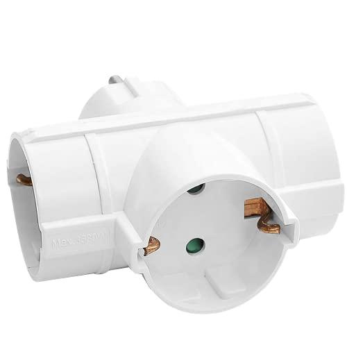 ORNO AE--13184(GS) Adapter Steckdose 3 Schuko-Anschlüssen (Weiß)