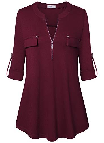 Siddhe Damen Einfarbig V-Ausschnitt Bluse Reißverschluss T-Shirt Oberteile Elegant 3/4 Ärmel Casual Longshirt, Wein XXL