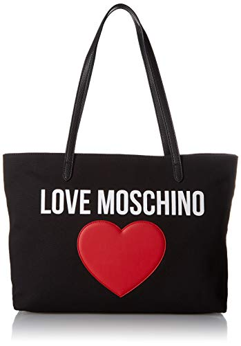 Love Moschino Borsa Canvas E Pebble Pu, Mano Donna, (Nero), 12x29x41...