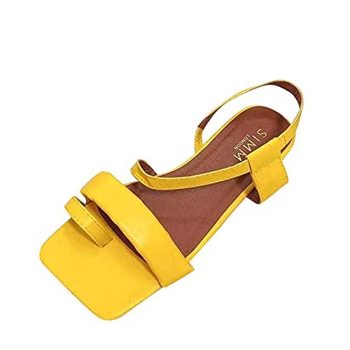 Beudylihy Sandalias planas de verano para mujer, con suela acolchada, correa al tobillo, sandalias, zapatos de verano, ocio, vacaciones, playa, cómodos, para caminar, color, talla 38 EU