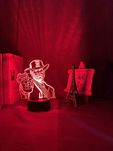 3D Night Light Illusion Decoration Gifts Christmas Arthur Morgan Figure Kids Led Night Light Game Red Dead Redemption 2 Gift Acrylic 3D Lamp for Game Room Decor Nightlight GLASA