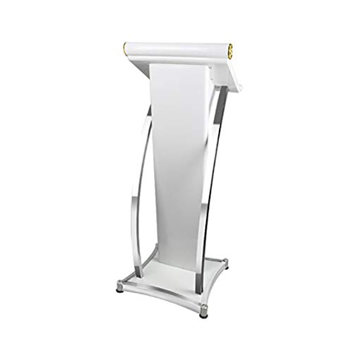 Stand-Up Presentation Lectern Heavy Duty Commercial Podium Easy Assembly Podium Pulpit Lectern Stainless Steel Speaking Lecture Podium Speaking Training Podium (Color : White, Size : 49x49x117cm)
