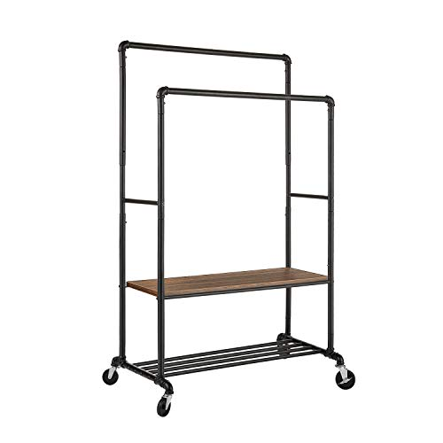Greenstell Clothes Rack with Shelves Industrial Pipe Style Rolling Garment Rack Heavy Duty Double Rods Clothes Hanging Rack Adjustable Height Durable Coat Rack for Organizing Clothes and Shoes