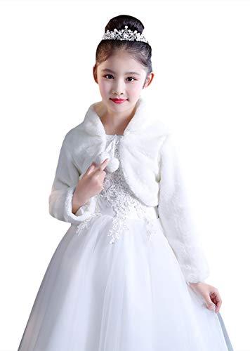 Ommda Princesa de Niña Cárdigan Chal de Piel Sintética Chaquetilla de Bolero niña Fiesta de Flor Capa de Princesa Accesorios de Vestido con Manga Larga,Blanco,S (3-5años)