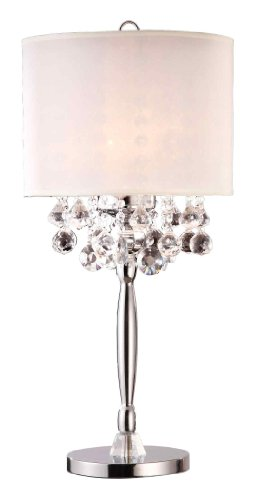 "Ore International K-5110T Crystal Table Lamp, 14.0"" x 14.0"" x 30.0"", Silver"