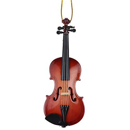 "Dselvgvu String Miniature Violin Hanging Ornament Mini Music Instrument Replica Holiday Tree Christmas Ornament (4.72"" Violin)"