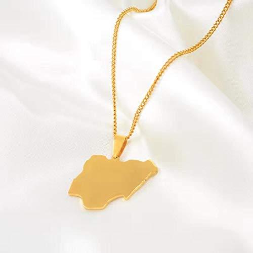 Collar Dorado con Colgante De Mapa De Nigeria, Hombres, Mujeres, África, Mapa del País, Mapa De Nigeria, Acero Inoxidable, Número # 064021