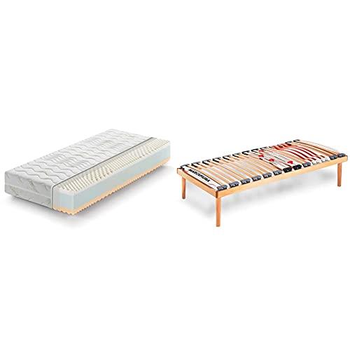 Marcapiuma - Materasso Singolo Memory 90X190 Alto 22 Cm - Rainbow - Grado Rigidità H2 & Rete A Doghe Fissa Singola...