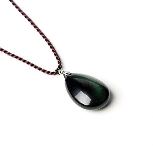 TTDAltd Collar Collares de obsidiana arcoíris Naturales Cadena marrón Piedra Natural Collar Colgante de Agua Lucky Drop