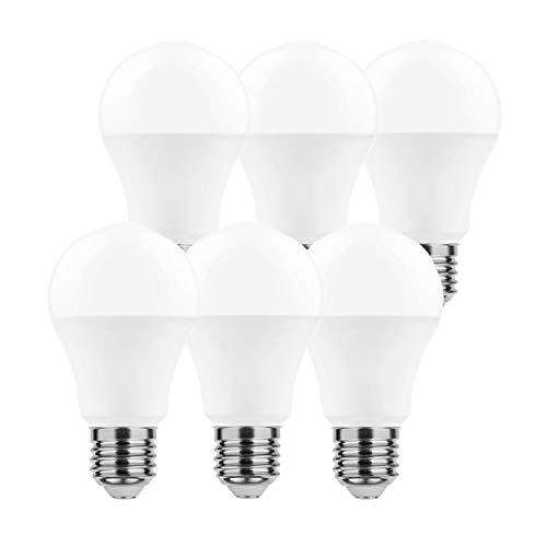 LumCa Pack de 6 bombillas LED A65, 15 W, blanco neutro, E27, equivalente a 95 W, 4000 Kelvin, 1520 lúmenes, no regulable, 220-240 V, ángulo de haz de 270°.